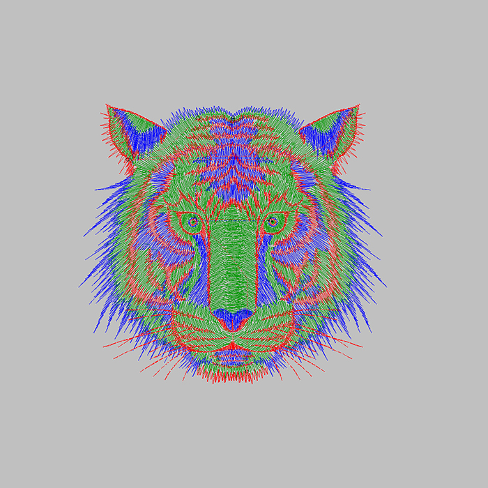 Tiger embroidery pattern to embroider for hat