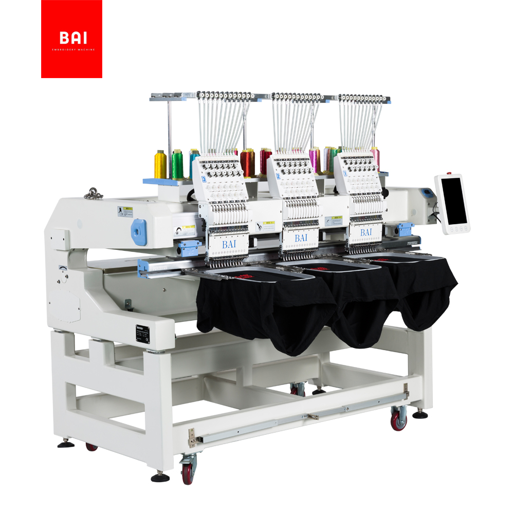 BAI 3 Head 12 Colors Cap T-shirt Flat Schiffli Machine