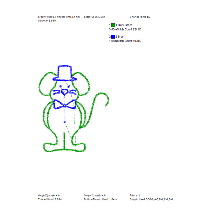 Free mouse embroidered pattern for home business