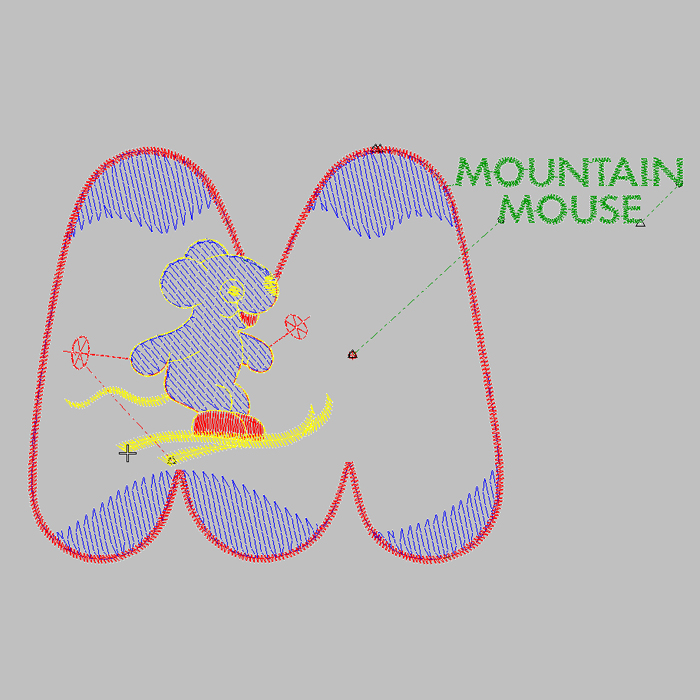 Mouse letter embroidery pattern embroidery for sweaters