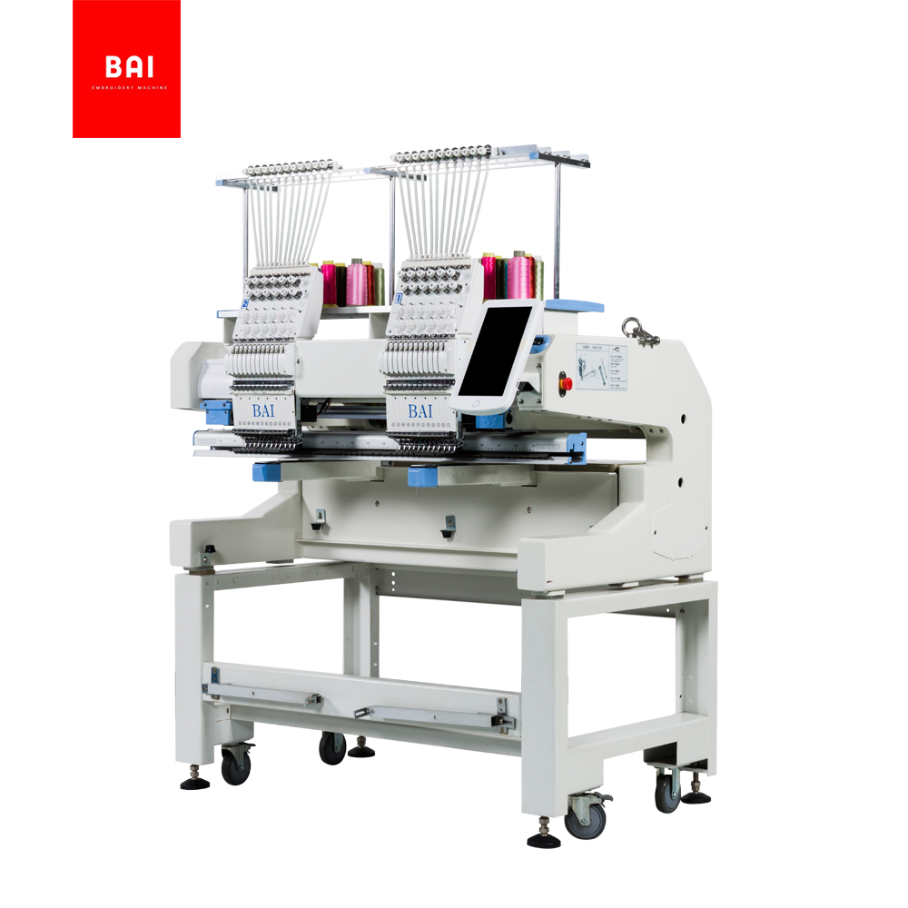 BAI Computerized Two Head 12 Needles Hat Embroidery Machine for Design Shop