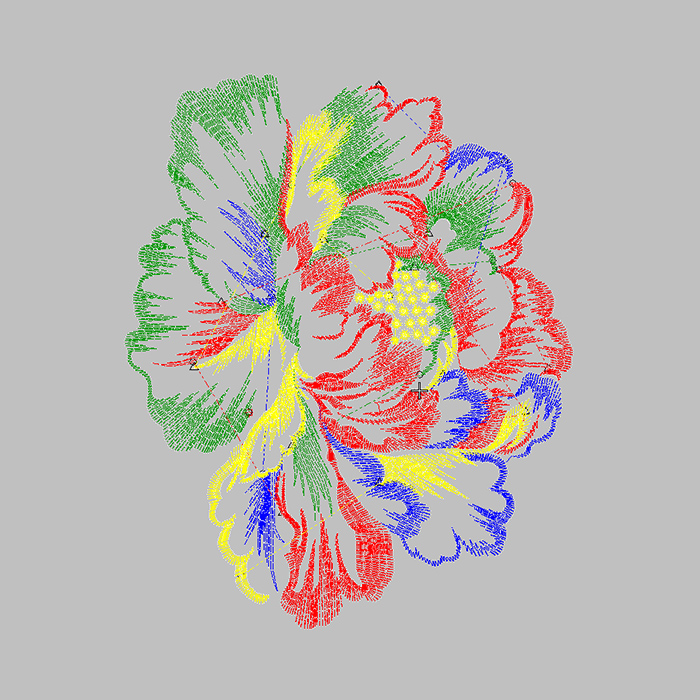 Colorful Peony Large Area Free T-shirt Embroidery Pattern