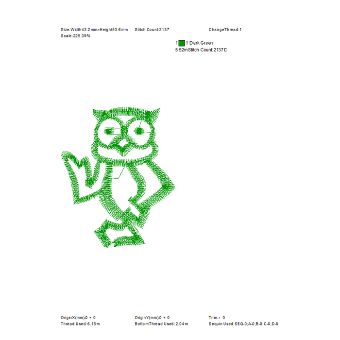 The most popular cartoon owl embroidery pattern for towel embroidery
