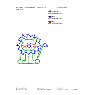 Cute lion embroidery pattern for children's short sleeve embroidery