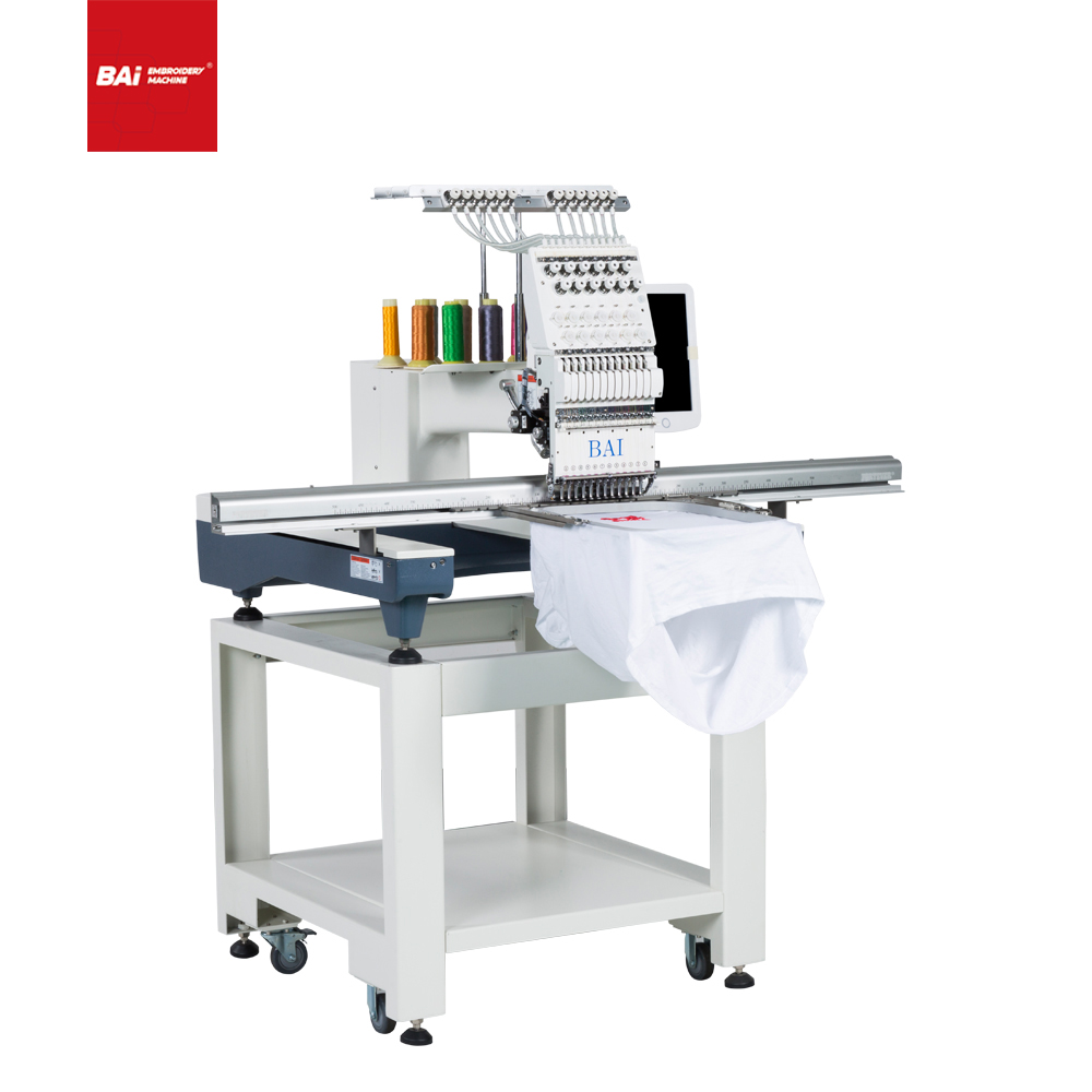 BAI High Speed 12 Colors One Single Head 3d Hat Computer Embroidery Machine for Price