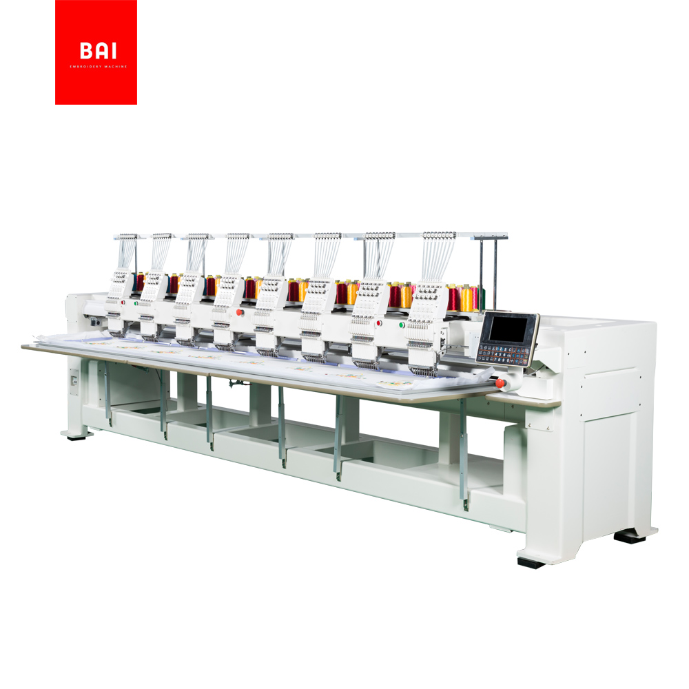 BAI Custom Computerized 4 6 8 Heads Flat Embroidery Machine Price for Garment