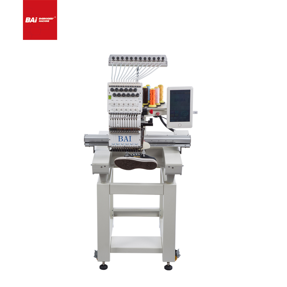 BAI Automatic Single Head High Speed Industrial Embroidery Machine for Cap T-shirt Flat