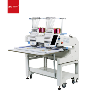 BAI Worktable Size Computer 2 Heads 12 Needle Hat T Shirt Embroidery Machine