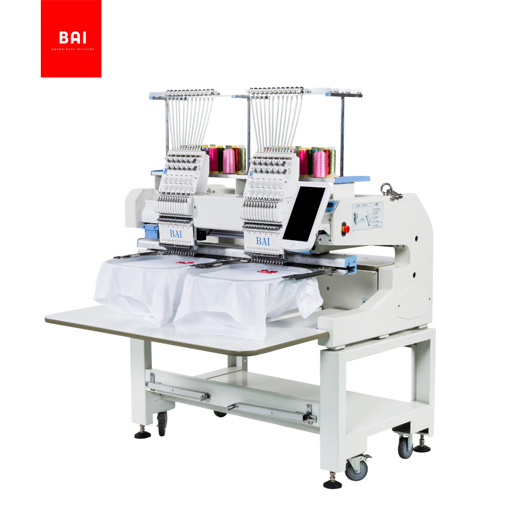BAI High Speed 400*500mm 2 Heads 12 Needle Computerized Embroidery Machine