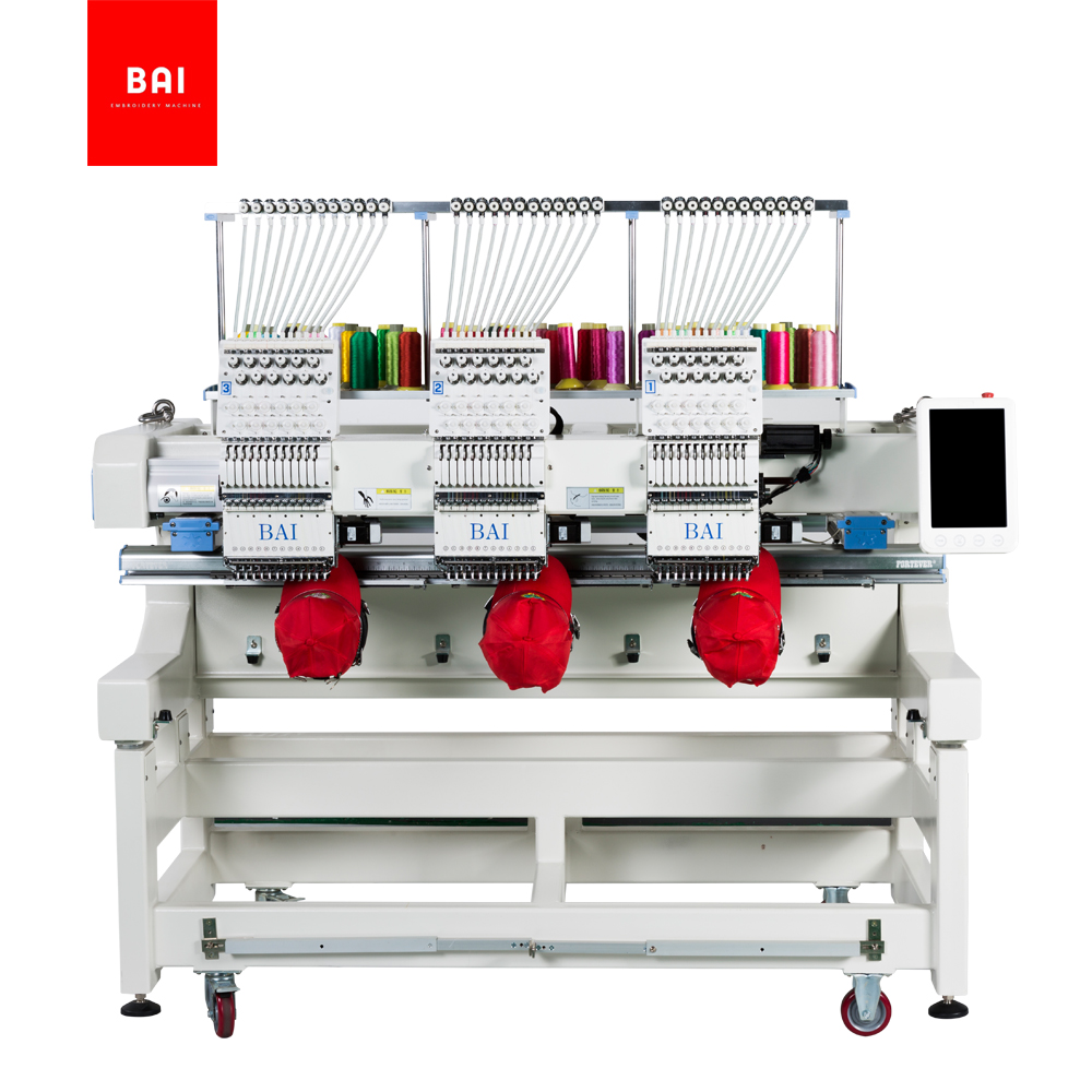 BAI 3 Head 12 Needles High Speed Computer Flat Embroidery Machine