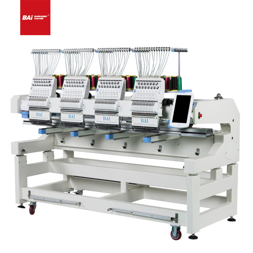 BAI Digital Four Heads High Speed Cap T-shirt Flat Embroidery Machine with Professional Service